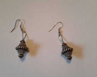 Black and white large bead earrings