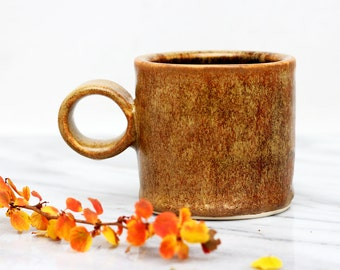 stoneware espresso cup ~ handmade ceramic cup with large loop handle ~ sienna brown and glossy black glazes ~ wheel thrown espresso cup
