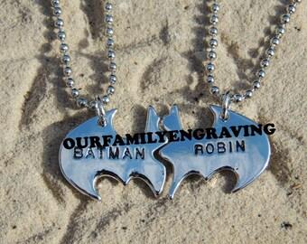 ON SALE Batman Robin pendant necklace set brothers friends