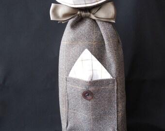 Handmade fabric bag wine bottle bag reusable gift bag gift bottle bag