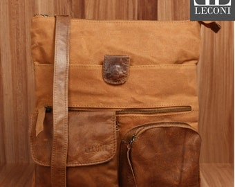 LECONI shoulder bag shoulder bag ladies gentlemen Used look leather canvas cognac LE3011-C
