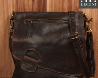 LECONI shoulder bag leather bag shoulder bag lady bag leather dark brown LE3027-wax