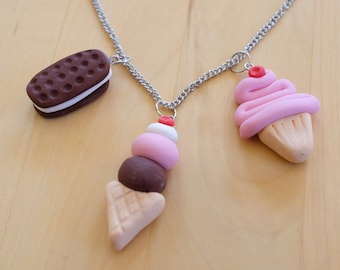 Sweet Treats Necklace - Three Interchangeable Charms - Ice Cream, Cupcake, Cookie Sandwich