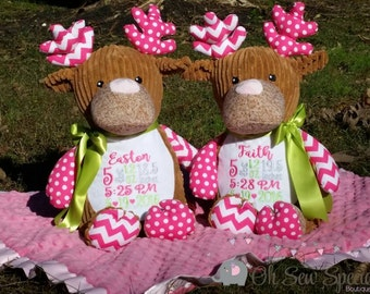 Personalized stuffed Deer with Pink chevron and pink polka dot