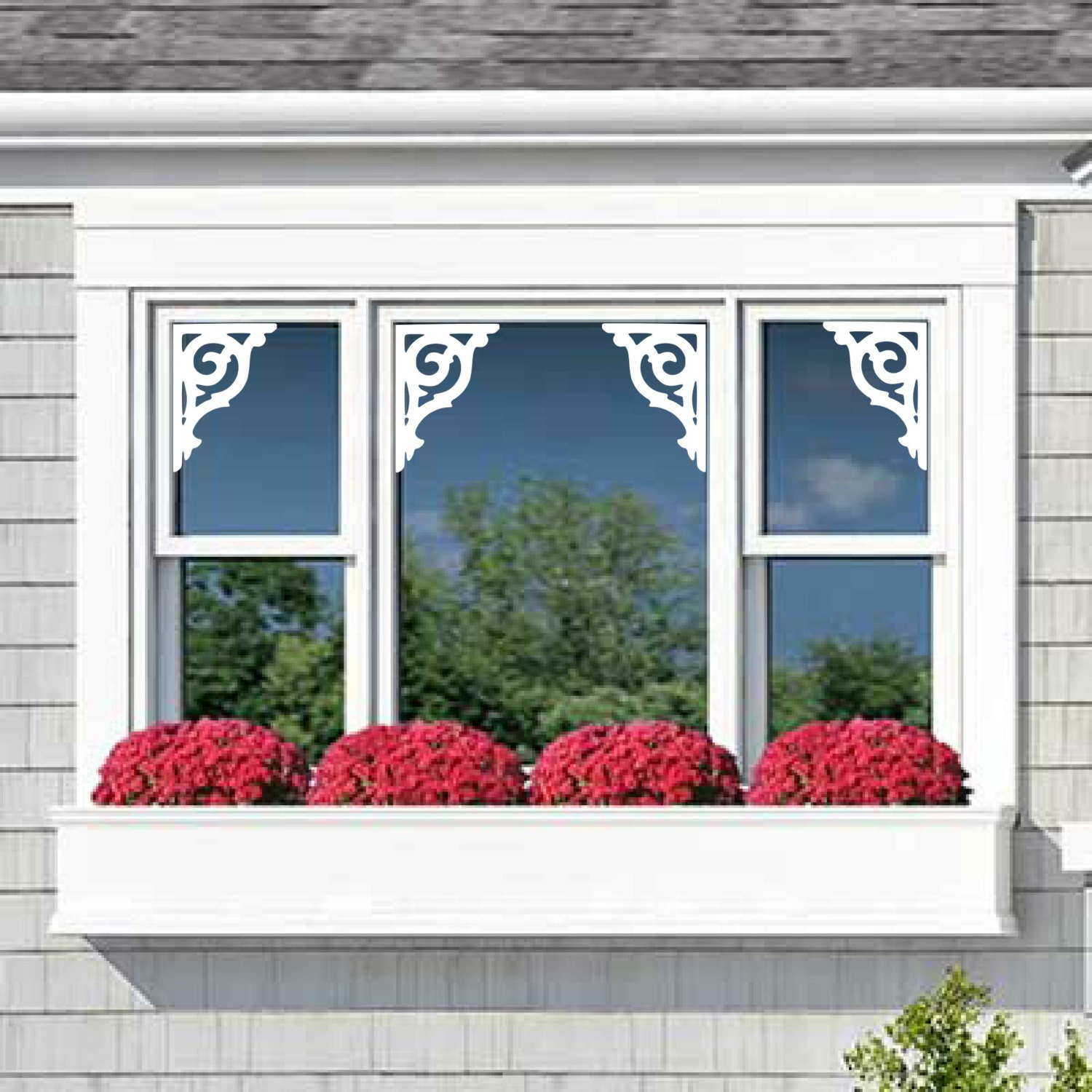 Window Mirror Door Vinyl Decals Nantucket Fretwork