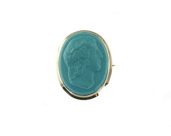 Reserved for Lynn--Blue Cameo Brooch
