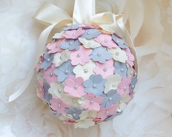 Pink and grey pomander, flowergirl pomander, paper hydrangea flowers, wedding aisle decor, wedding decor, church pew decor, paper flowers