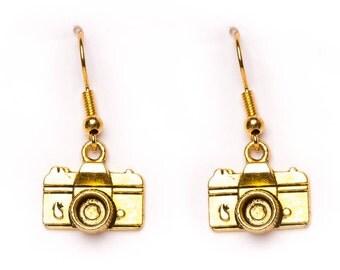 Small Camera Earrings | Gold Plated Camera Earrings | Dainty Dangle Earrings | Photographer's Earrings |