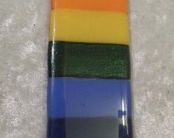 Fused glass rainbow colours hanging decoration or sun catcher red orange yellow green blue indigo violet