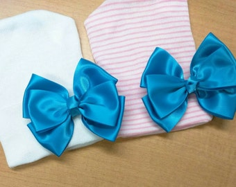 Newborn Hospital Hat! Bright Blue Bow! Sweet! Perfect as part of going home outfit too! Your Baby Will Be The