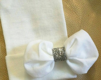 Newborn Hospital Hat. White with White Chiffon Bow and Silver Center. Baby Beanie. 1st Keepsake! Newborn Hat. Great Goin