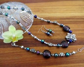 Playful Purple and Butterfly Mixed-Matched Beaded Jewelry Set