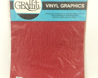 "Graffiti Vinyl Lettering Helvetica NUMBERS Red 2"" STICKERS"