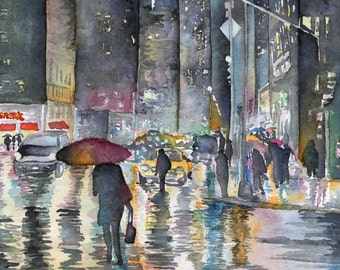 Watercolor Print Rainy Night in NYC 8.5 x 11