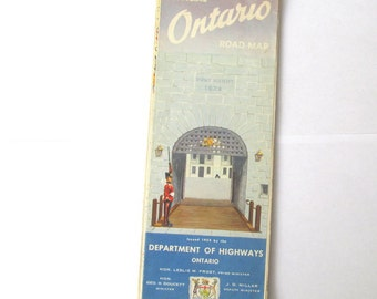 Vintage map of Ontario, Canada from 1952. Paper ephemera for collecting, framing, craft, travel journal, scrapbook, decoupage.