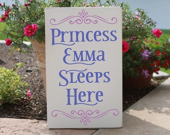 Personalized Wood Princess Sleeps Here Sign with your Princess Name / A Princess Sleeps Here Sign