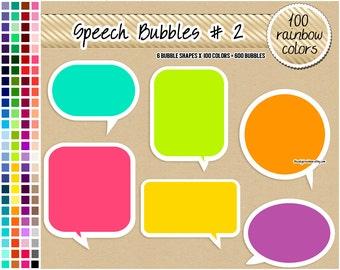 SALE 600 speech bubbles clipart round square speech bubble sticker printable tag label rainbow digital scrapbooking pastel bright neutral