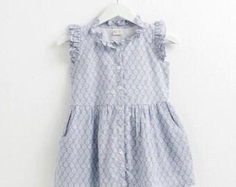 Girl dress, Toddler girl dress, Summer dress, Girl outfits,Blue print dress