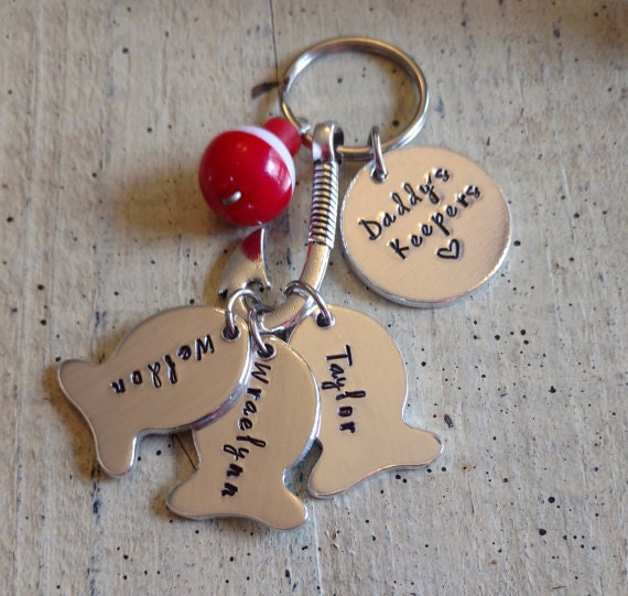 Custom personalized name fishing keychain with fish hook for Unique fishing gifts