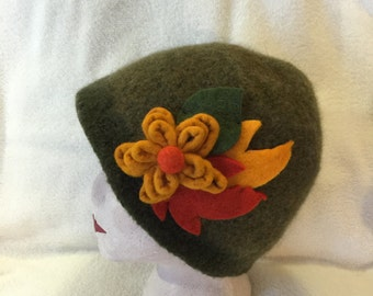 Womens sage heather wool felted hat with flower and leaf embelishments