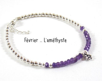 Born in February - amethyst. Give her the stone of month of birth on a pretty silver bracelet 925.