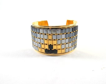 Unique piece - Cuff Bracelet ANUBIS in gilded brass and TILA bead weaving.