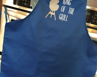 King of the Grill apron; apron for dad; BBQ apron