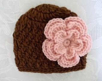 Crochet baby hat Brown newborn hat Baby girl hat Baby girl outfit Crochet baby beanie Girl photo prop Girl winter outfit Flower baby hat