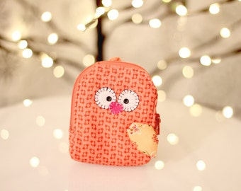 Owl Coin Wallet | Owl Coin Purse | Owl Wristlet | Handmade Owl | One of a Kind Owl | Happy Owl