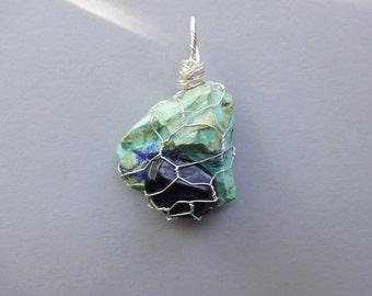 Chrysocolla Rock Tourmaline wire work wrapped pendant - chrysocolla gemstone jewelry