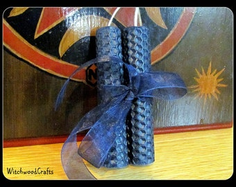 Dark Blue Beeswax Spell Candles - Pagan Wicca - Wiccan Witch - Ritual Witchcraft - Worship Altar Shrine