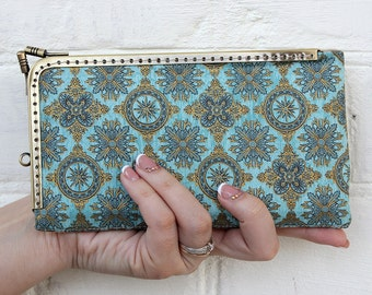 iPhone 7 Wallet Case Blue Turquoise Gold Florentine Wallet phone case iPhone 6 Wallet Case Samsung iPhone 7 Case Gifts for her Phone wallet