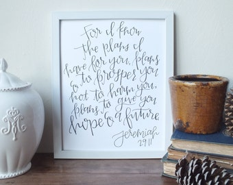 Jeremiah 29:11 // INSTANT DOWNLOAD \\ Scripture Art Print, Bible Verse, Jeremiah, Hope, Future, Christian Home Decor, Printable