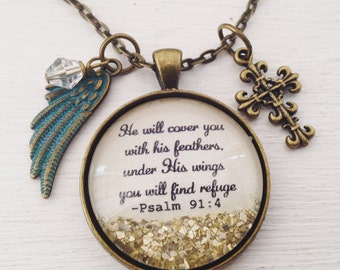 Psalm 91:4 sparkle pendant charm necklace, He will cover you with His feathers,  under His wings you will find refuge