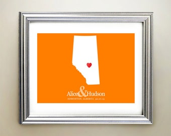 Alberta Custom Horizontal Heart Map Art - Personalized names, wedding gift, engagement, anniversary date