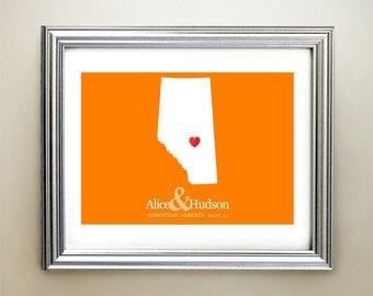Alberta Custom Horizontal Heart Map Art - Personalized names, wedding gift, engagement, anniversary date