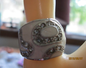 Handcrafted Deco .75ctw White Enamel and White Sapphire Accents Sterling Silver Ring Sz 7.5, Weight 6 Grams