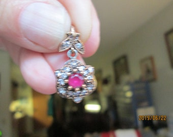 Vintage Inspired Art Deco .58ctw Ruby and White Sapphire Gold/925 Sterling Silver Pendant w/ 16 IN Sterling Chain, Wt. 4.0 Grams