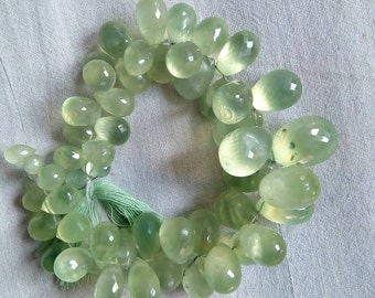 Prehnite faceted tear drops 8 inches strand 5.5*9 to 14*21 mm