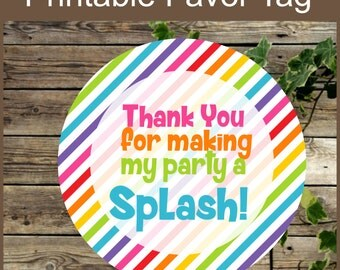 Pool Party Favor Tag, Instant Download, Swimming Birthday Party Printable Favor Sticker, Pool Favor Tag, Kids Birthday Swimming Party