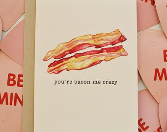 Valentine's Day Card Funny // Cheesy Bacon Love Card