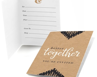 Better Together - Party Fill In Invitations -  Bridal Shower Party Supplies - 8 Count