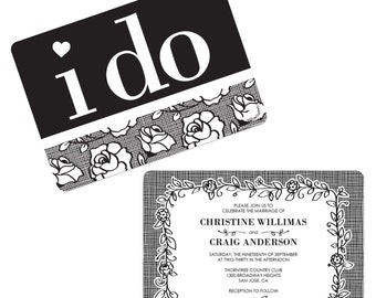 I Do - Party Invitations - Custom Wedding Party Supplies - Set of 12