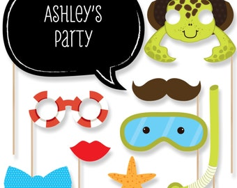 20 Beach Photo Booth Props - Sea Critters Photobooth Kit with Custom Talk Bubble for Baby Shower or Birthday Party