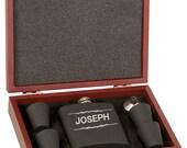 12 6 oz Matt Black or Stainless Steel Flask Set in Wood Presentation Box.