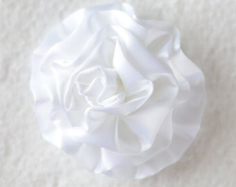 3 inch Satin Cabbage Hair Flowers, Wholesale Satin Flowers for Baby Headbands, Lot of 1, 2, 5 or 10, White