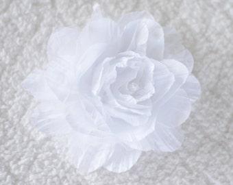 5 inch Crinkle Hair Flowers, Wholesale Flower Heads for Flower Headbands Baby, Lot of 1, 2, 5 or 10, White