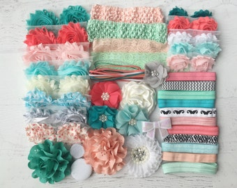 "Baby Shower Headband Kit ""Coral and Mint"", Baby Shower Headband Station, DIY Headband kit, Baby Girl Headbands, Baby Headband Kit"