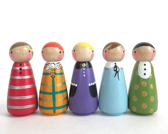 "2"" peg dolls with felt sleeping bag // mixed print peg doll play set // wooden peg dolls - wooden toys"