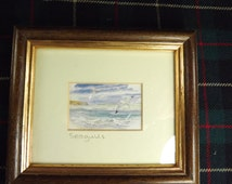 Vintage Small Framed Watercolour of Seagulls, Orkney Isles